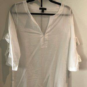 White JCrew Cover Up with Bow sleeves.